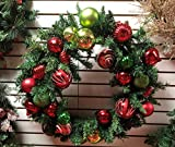 AMERIQUE Premium Stunning and Large Indoor and Outdoor Christmas Wreath with Golden Ornaments, 32'' x 32'' x 8'', Golden, Green