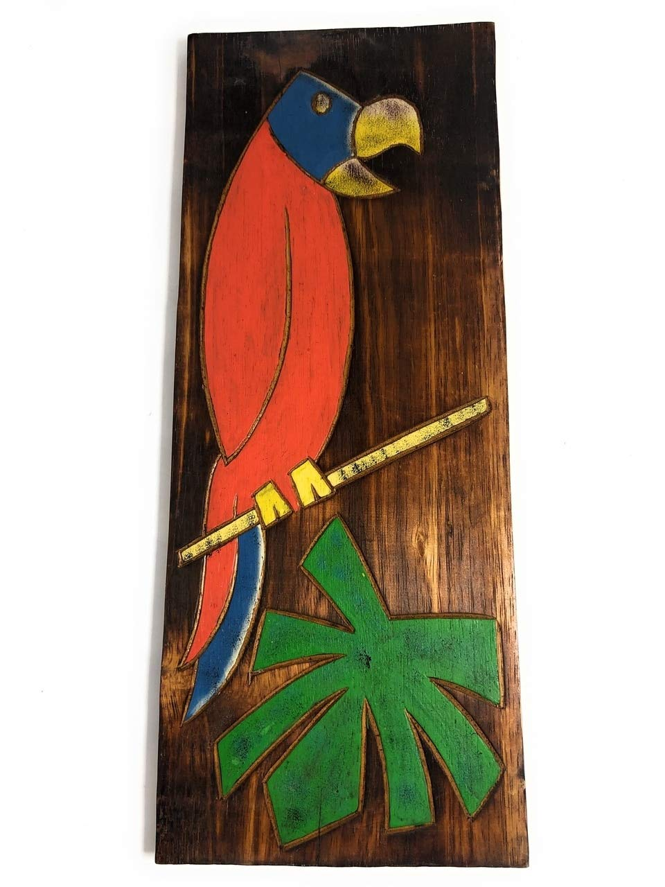 TikiMaster Parrot & Palm Leaf Relief 20'' X 8'' - Wall Art Wood Panel | #dpt516150