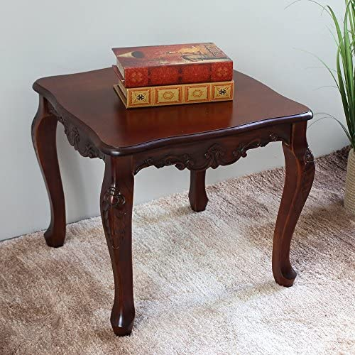 International Caravan Furniture Piece Carved Wood Square End Table