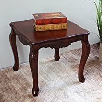 International Caravan 3862-IC Furniture Piece Carved Wood Square End Table