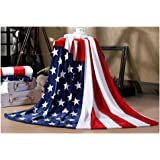 Bluestar Soft Flannel Throw Blanket for Bedroom Living Rooms Sofa, US flag and British flag Patterns Warm Blanket (US Flag)