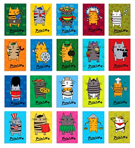 PICATSO postcard set of 20. Post card variety pack with funny fat cat theme postcards. Made in ()