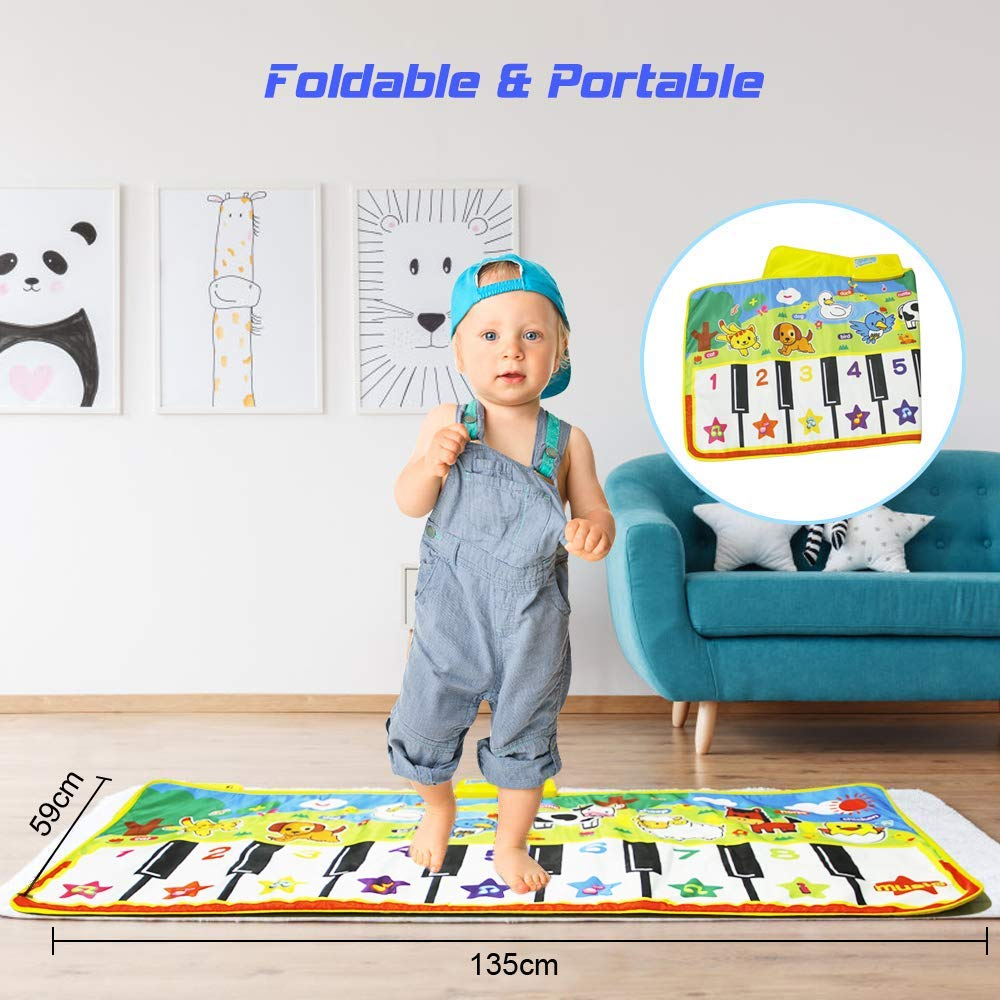 Joyfia Piano Mat, 53.2'' Electronic Music Piano Keyboard Carpet Animal Blanket Touch Dance Play Mat Toys, Baby Early Education Gifts for Kids Toddler Infant Boys Girls by Joyfia (Image #4)