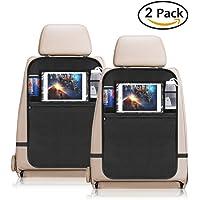 YZCX Organisateurs de Voiture Kick Mats (2 Pack), Multi-Pocket Kits De Rangement pour Siège Arrière De Voiture, Protection Arrière de Siège Auto avec Transparent Porte-Tablette/iPad