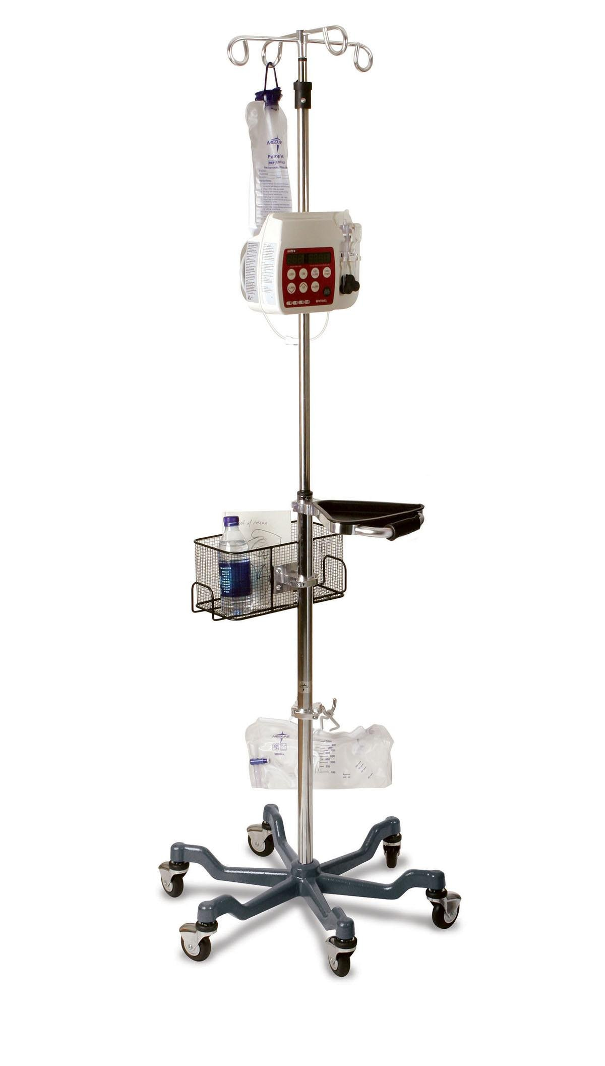 Medline MDS80600GRY Six Leg Heavy Duty IV Pole Stand with Quick Release Caster, Stainless Steel, Latex Free, Gray Base (Pack of 2)