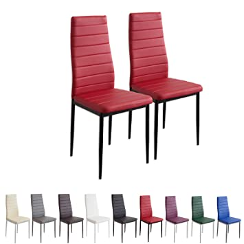 Albatros 2868 Milano Lot De 2 Chaises Rouge