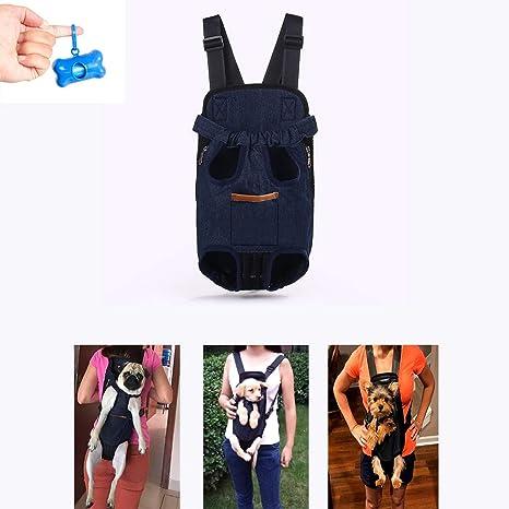 Teammao Mochila para Mascotas Doble Hombros Transpirable Cómodo Transportadora de Perro Gato Doble Mochila Bolso de