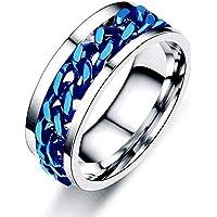 Timetries01 Spinner Ring for Men Women, Plated Silver Ring for Men Stainless Steel Ring Cool Titanium Fashion Ring Beer…