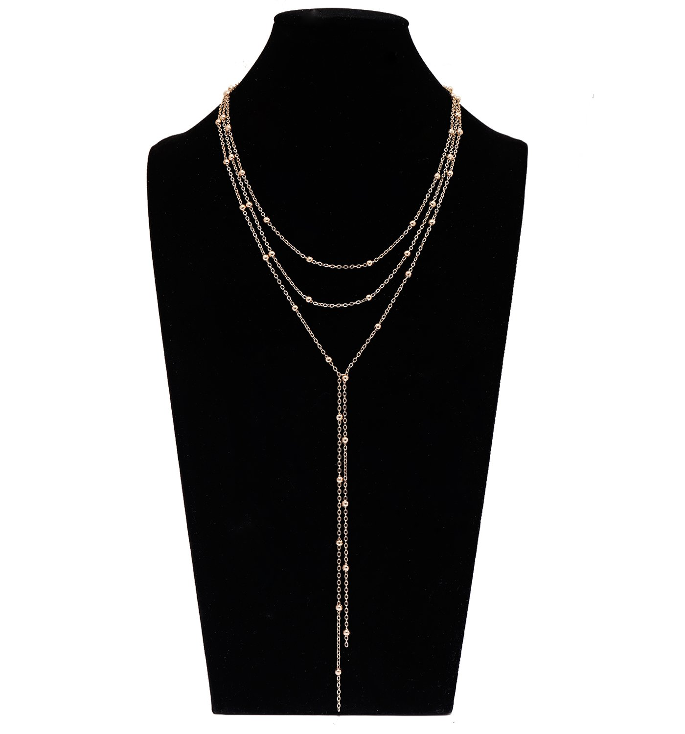 MOLOCH Layer Choker Necklace with Long Chain Pendant for women girls Handmade y necklace Charm chain jewelry necklace (gold)