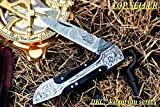 DKC Knives (16 5/18) Sale DKC-37-BH Victorian Damascus Folding Pocket Knife Buffalo Horn 7.75' Long, 4.5' Folded 3' Blade 4.8oz Hand Made Incredible Look and Feel