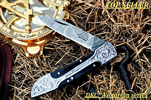 SALE DKC-37-BH VICTORIAN Damascus Folding Pocket Knife Buffalo Horn 7.75' Long, 4.5' Folded 3' Blade 4.8oz DKC Knives Hand Made Incredible Look and Feel