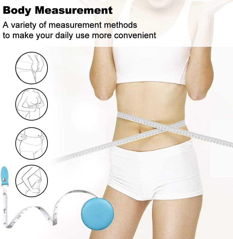 7 Pack Body Measuring Tape Blue 60 Inch Body Retractable Tape Measure Soft Double Scale Measuring Tape for Weight Loss Body Measurment Fabric Sewing Tailor Cloth Ruler Flexible Tape Measure Set