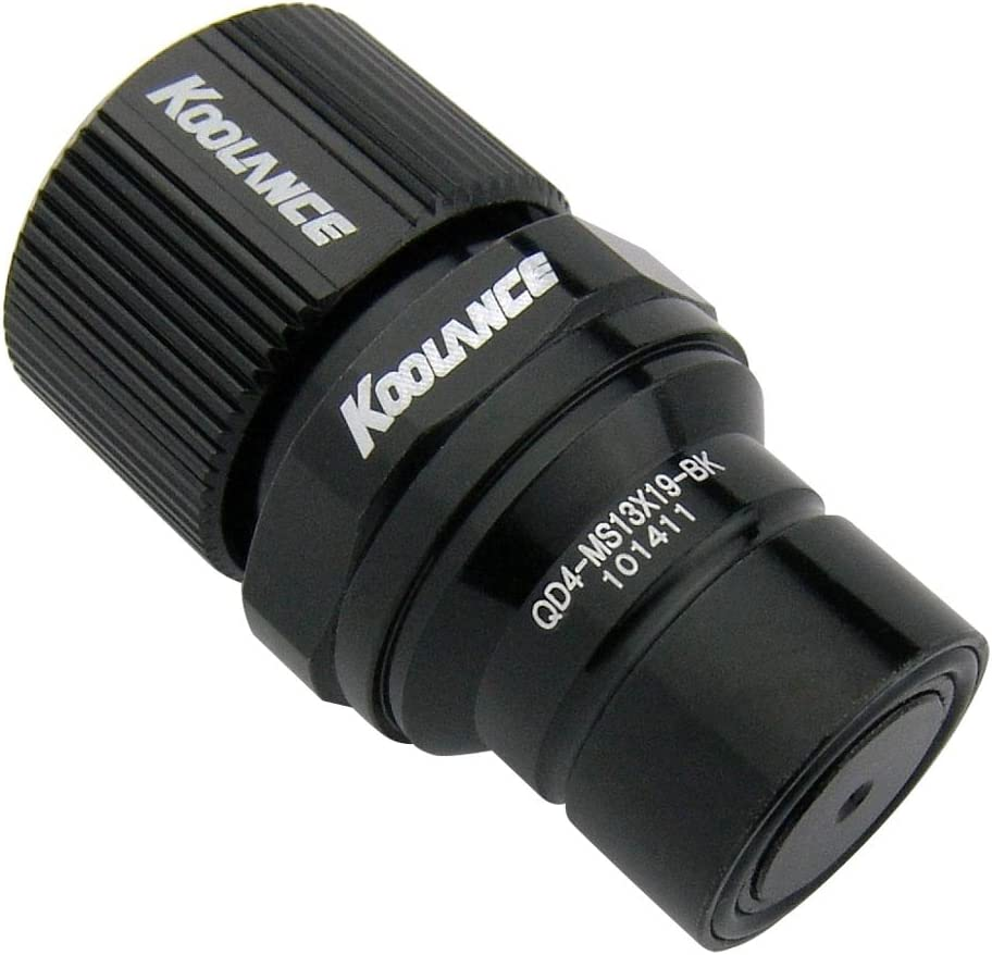 Koolance QD4-MS13X19-BK QD4 Male Quick Disconnect No-Spill Coupling, Compression for 13mm x 19mm (1/2in x 3/4in) *Black*