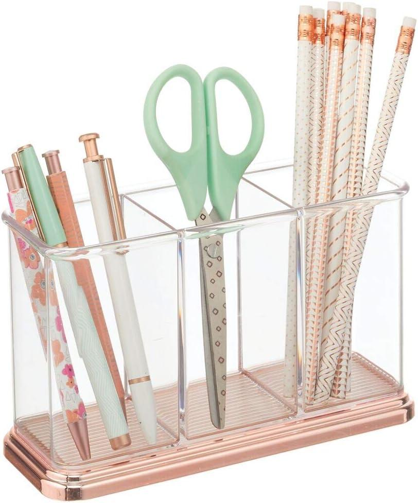 mDesign Práctico portalápices para material de oficina y papelería – Decorativa caja para guardar lápices y accesorios – Organizador de escritorio con 3 compartimentos – transparente y dorado rojizo