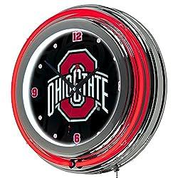 NCAA Ohio State University Shadow Brutus Chrome Double Ring Neon Clock, 14