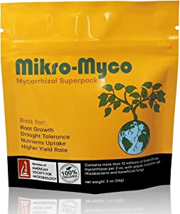 Mikro-Myco, Highly Concentrated Mycorrhizal Fungi –11 Endo/Ecto Mycorrhizae, Water Soluble Powder for Exponential Root Growth. Contains Plant Growth Promoting Soil Microbes for Greater Outcomes (2 oz)