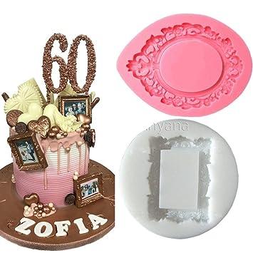 Anyana 2pcs Vintage Marco de fotos espejo Cake Moldes Chocolate molde para la cocina Hornear Cupcake herramienta de bricolaje Sugarcraft herramienta de ...