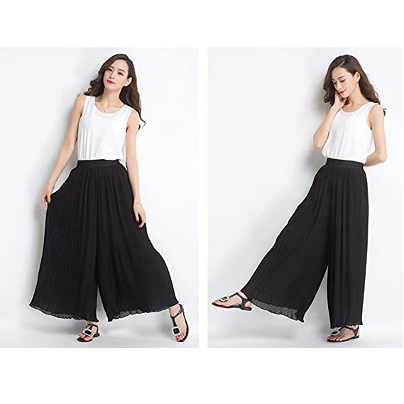 ONEWORLD Women Loose Chiffon High Waist Long Culottes Pants 3/4 leisure  Pants: Amazon.co.uk: Clothing