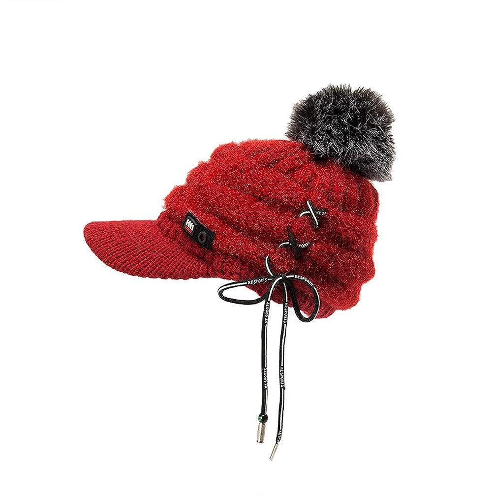 FTXJ Men Women Winter Cap Solid Bandage Ear Protector Slouchy Hairball Hat