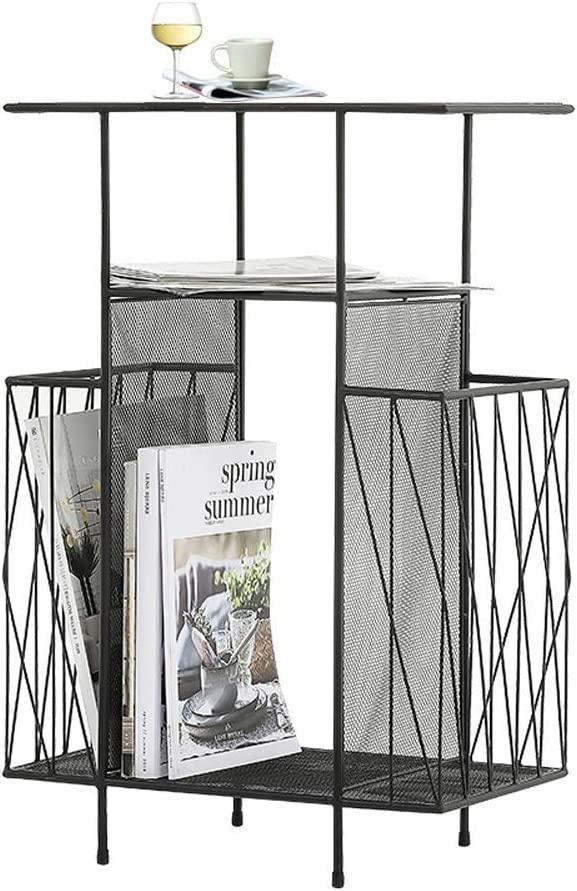 Revistero Estante de revista de oficina moderna de hierro forjado, estante creativo nórdico de varias capas, estante de periódico, hierro dorado + vidrio negro, hierro rosa + vidri