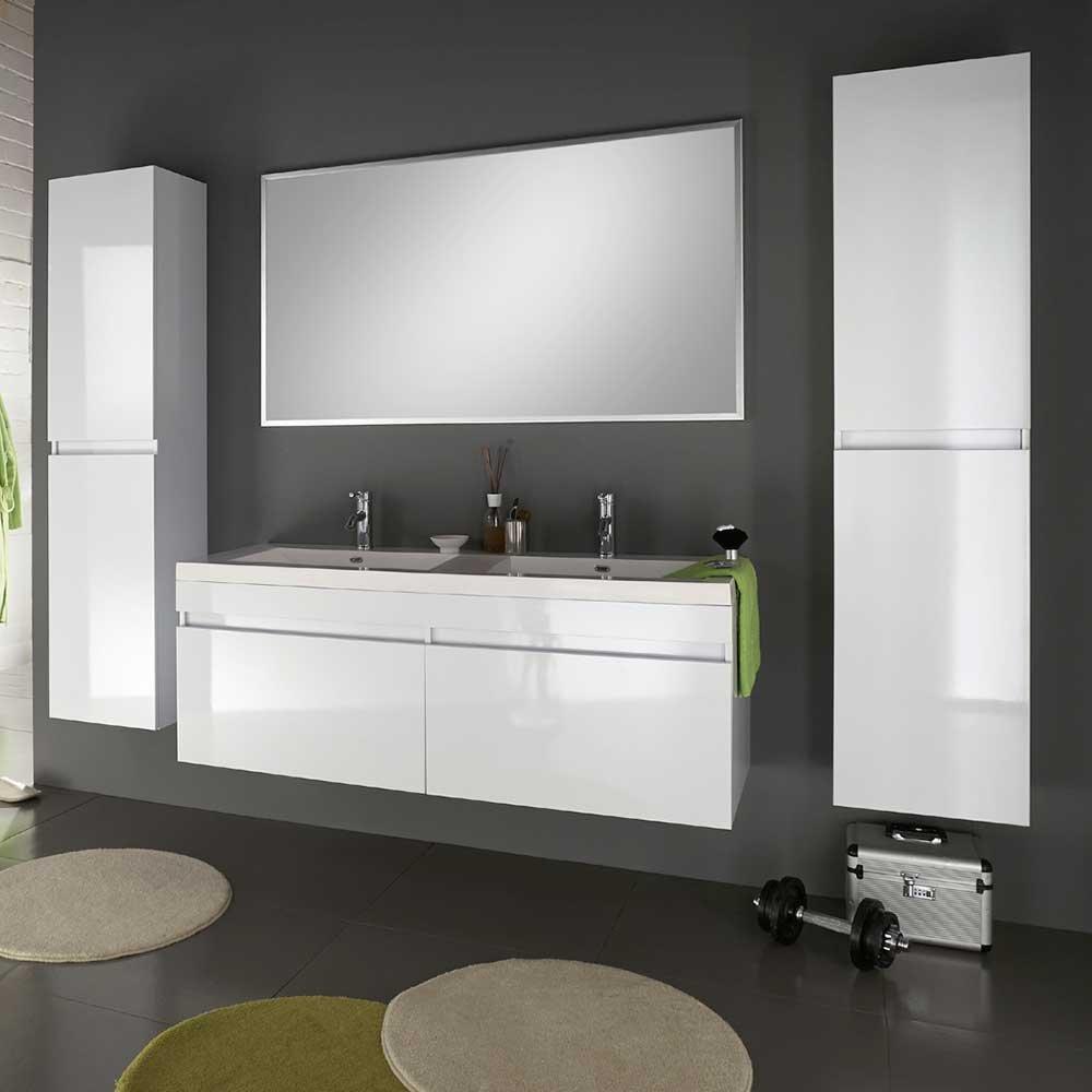 Badezimmermöbel Set mit Doppelwaschtisch Weiß Hochglanz (4-teilig ...