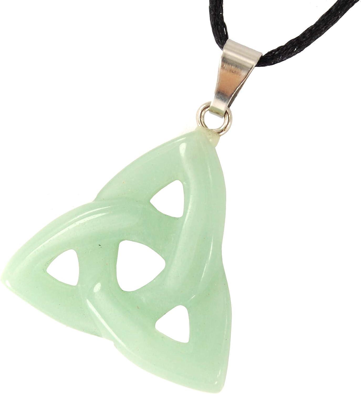 WEALTH CELTIC EARRINGS Green Aventurine Gemstone Triquetra