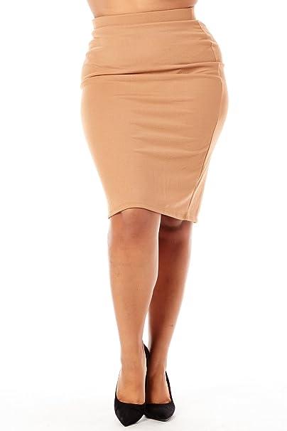 72c2a872f9a Kathy Womens Ladies Plus Sizes Curvy Solid Basic Pencil Midi Skirts 1160K  (XL