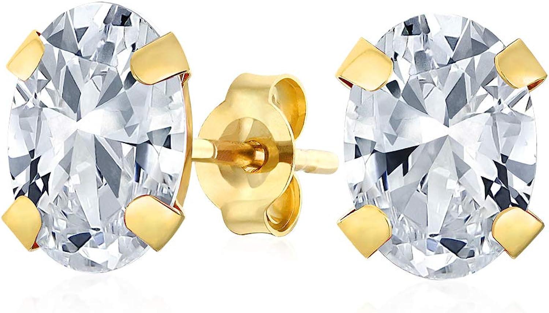Piedra Nacimiento Blanca Ovalada 1.6Ct Acio Pendiente Boton Noviembre Pendientes Mujer Reales En Oro Amarillo 14K