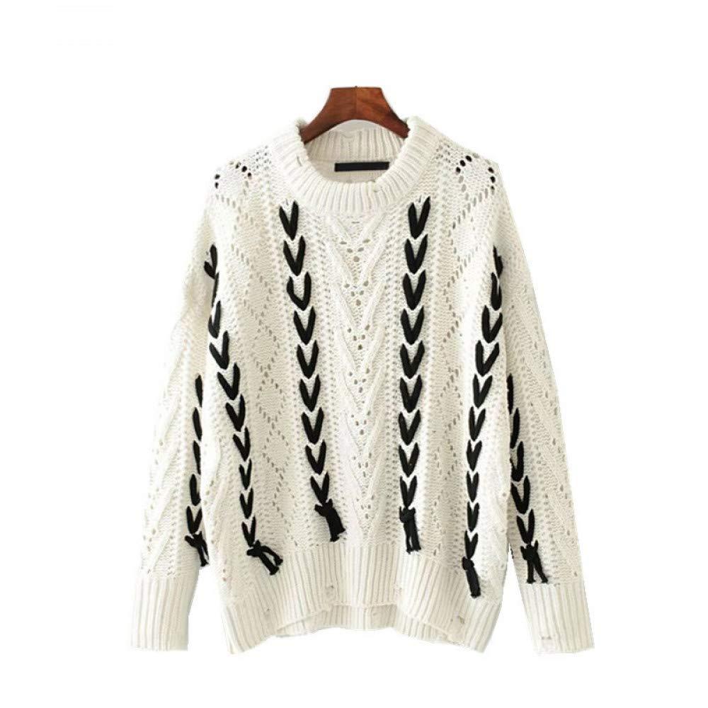 FUHENGMY Pullover Übergroße Herbststrickjackefrauen Geometrisch Von Binden Sie Vintage Übergroße Lose Flügelhülsenoberseitenfrauen-Strickjackepullover