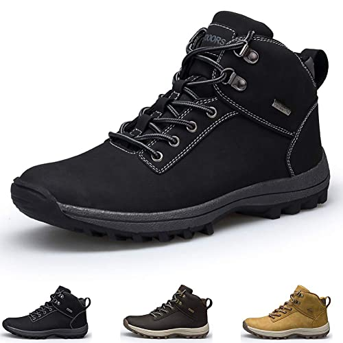 GOUPSKY Mens Hiking Boots Leather Work Shoes Winter Outdoor Waterproof Snow  Shoes Black, 8.5 UK
