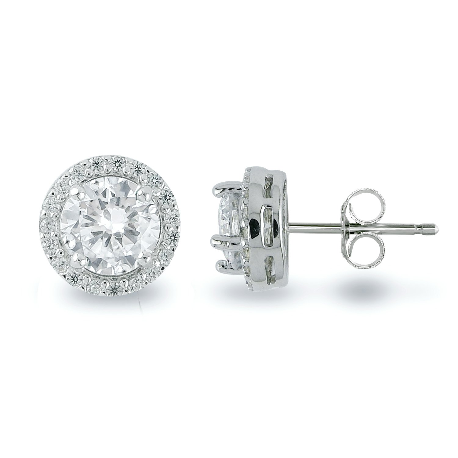 Rhodium Plated Sterling Silver Cubic Zirconia Halo Stud Earrings, Center Stone 6mm