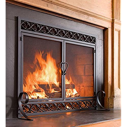 Plow u0026 Hearth Scrollwork Small Fireplace Screen with Hinged Doors Cast Iron Border Sturdy Steel Frame Durable Metal Mesh Decorative Elegant Design Free ... & Fireplace Doors: Amazon.com