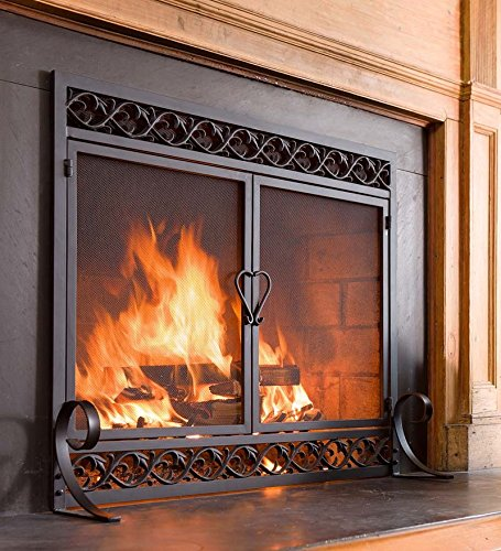 (Plow & Hearth Scrollwork Small Fireplace Screen with Hinged Doors Cast Iron Border Sturdy Steel Frame Durable Metal Mesh Decorative Elegant Design Free Standing Spark Guard Black Finish 38 W x 31.5 H)