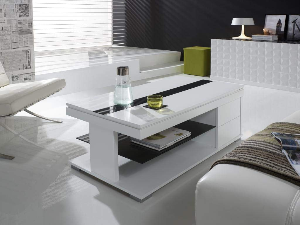 M-020 Mesa Baja elevable Blanco Lacado Design elsye: Amazon.es: Hogar