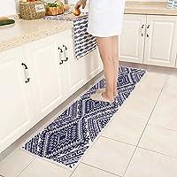 MR FANTASY Oriental Trellis Hallway Kitchen Runner Rug Long Non Slip Modern Geometric Kitchen Mat Carpet 18x71 Blue