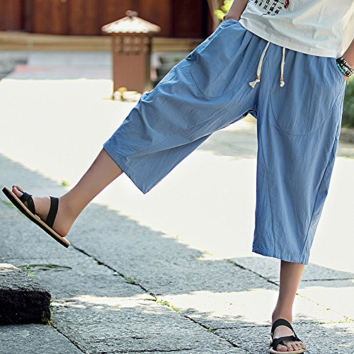 Pantaloni Pantaloni uomo Gypsy Larghi Cielo Blu Festival Lino Paolian Cotone Retrò Pants Uomo Harem Pantalone xIUwC5qan