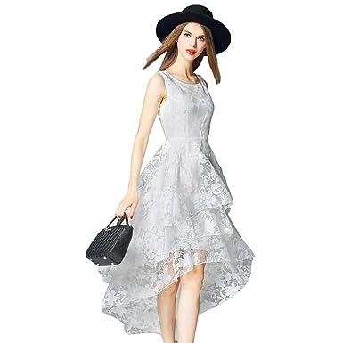38ca694892b4 YueShang Summer Maxi Dress 2019 Women O-Neck Sleeveless Sweet Ball Gown  White Organza High Low Evening Party Long Dress at Amazon Women's Clothing  store: