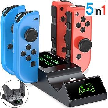 ESYWEN - Cargador controlador para Nintendo Switch, 5 en 1, base de carga para mando Joy-Con y Switch Pro con indicadores LED: Amazon.es: Electrónica