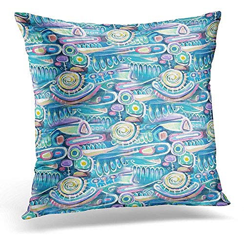 Throw Pillow Cover Abstract Acrylic Canvas Bouquet Flowers Sea Blooming Peas Turquoise Color Composition Aztec Maya Incas Decorative Pillow Case Home Decor Square 18