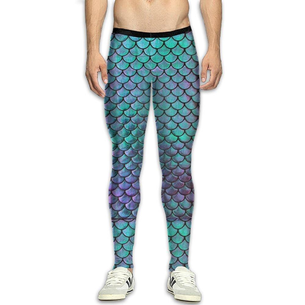 d2d806a32f312 Amazon.com: CXGFUDHWE Men¡¯s Compression Green Mermaid Scales Pants  Baselayer Running Tights 3D Print Fitness Sports Leggings: Clothing