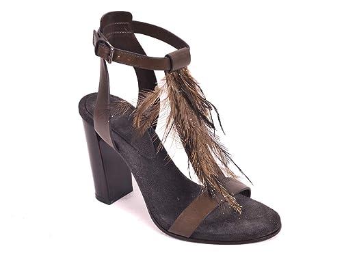 Brunello Brunello Brunello Cucinelli Damens Gray Braun Feather Sandale Heels ... 38a31b
