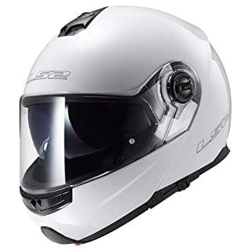 LS2 Casco modular abatible para moto Strobe blanco (L)