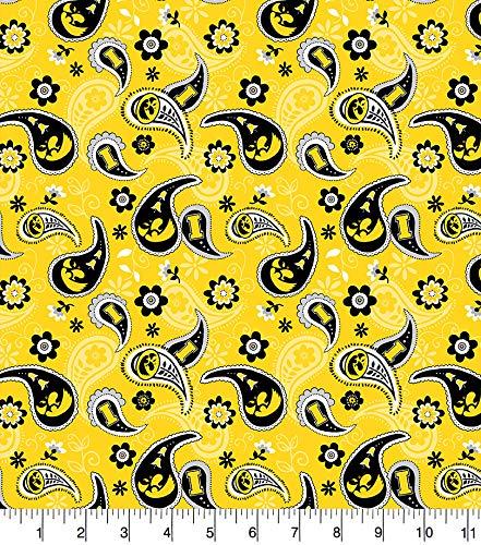 University of Iowa Cotton Fabric with Paisley Design-Newest Pattern-Iowa Hawkeyes Cotton Fabric