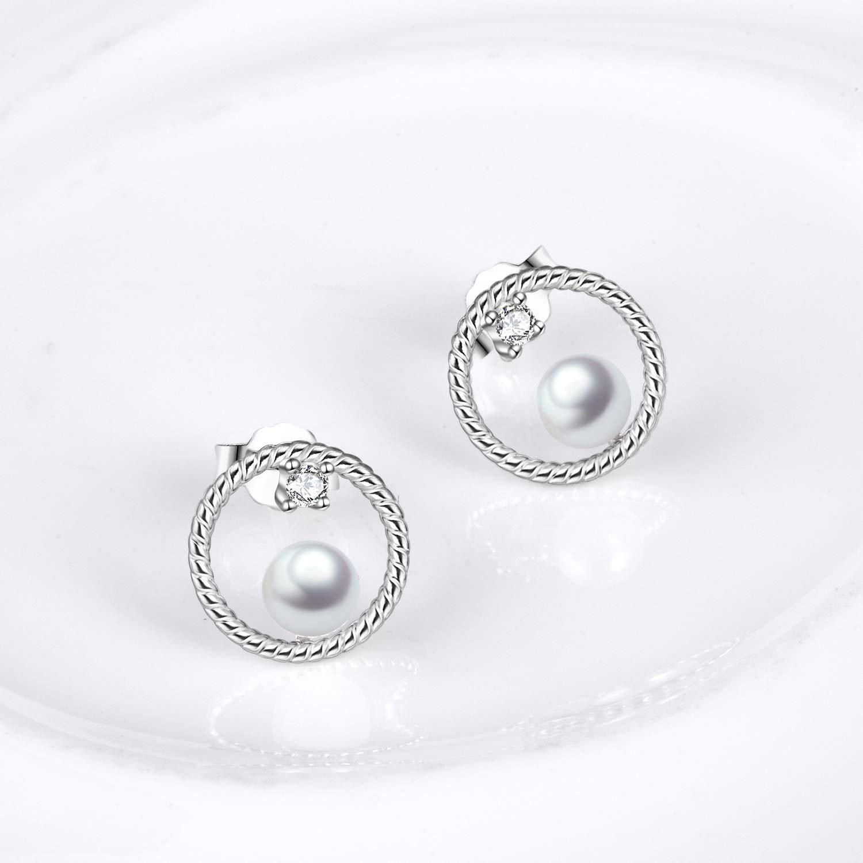 Circle Stud Earrings Sterling Silver Pearl Hoops Rope Circle Ear Studs for Women Girls (Circle Stud Earrings) by POPLYKE (Image #4)