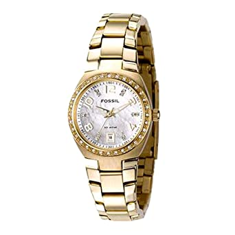 Fossil Womens AM4219 Gold-Tone Stainless Steel Bracelet White Analog Dial Watch