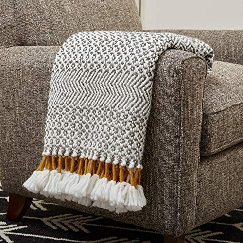 Buy Bargain Rivet Modern Hand-Woven Stripe Fringe Throw Blanket, Soft and Stylish, 50″ x 60″, Charcoal Grey and Mustard Yellow