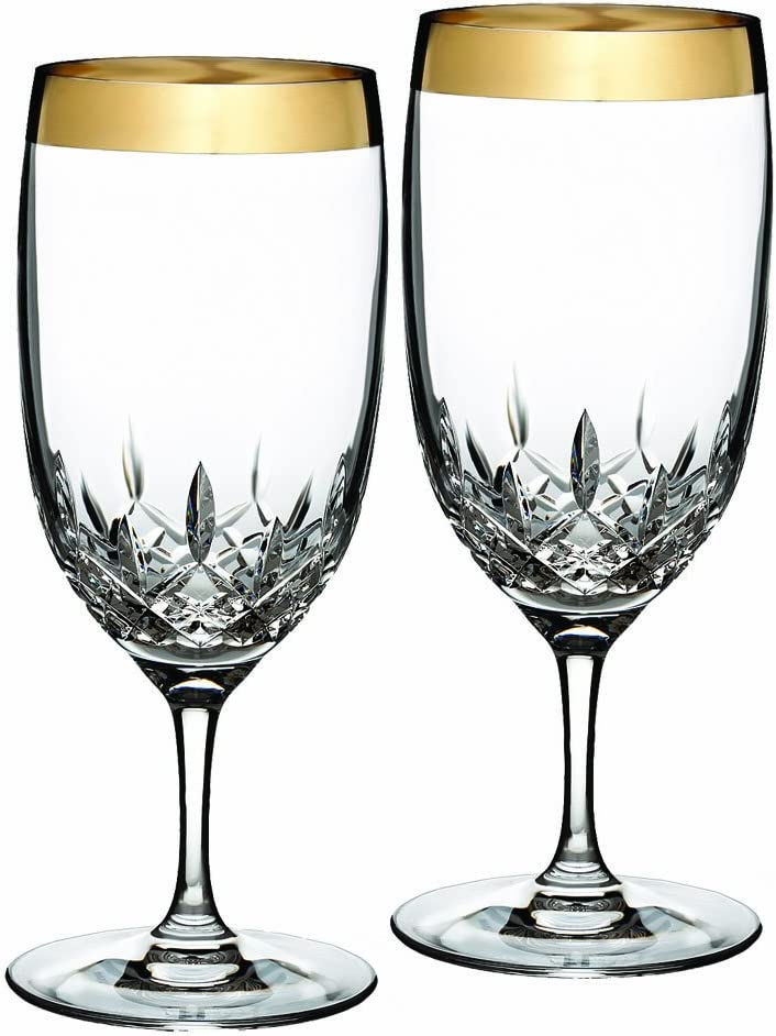 Waterford Lismore Essence Wide Gold Band Iced Beverage, Pair