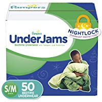 Pampers UnderJams Disposable Bedtime Underwear for Boys, Size S/M, 50 Count, Super...