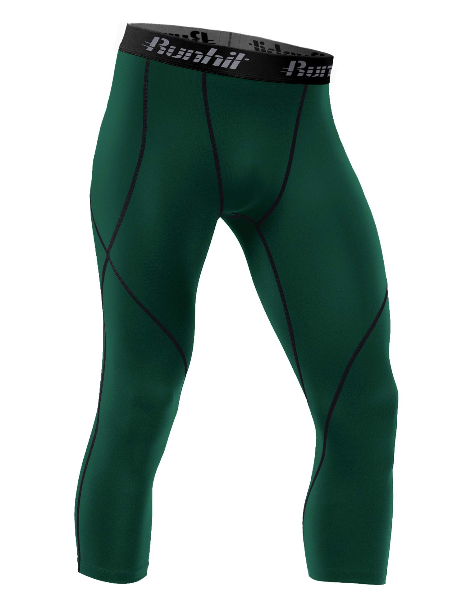 Runhit Mens 3/4 Compression Leggings Pants Capri Shorts Baselayer Cool Dry Sport Tights DarkGreen by Runhit