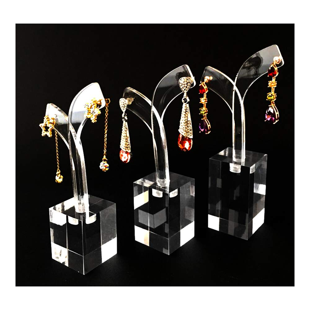 Modern Clear Acrylic Earring Display Stands Holder Jewelery Photography Showcase Presentation Home Store High Grade Material Unique Design (Clear)